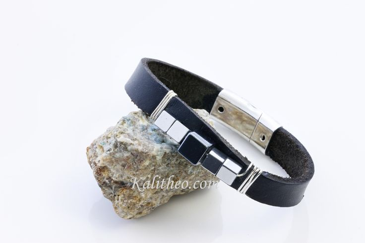 Leather bracelet with Hematite 2 tone square beads on the front. Sterling silver wire wrapped and a magnetic silver plated clasp.    This bracelet comes in two sizes Large and Medium.    Large isapprox. 22 cm including clasp open, 21 cm closed.    Medium is approx. 20 cm including clasp open, 19 cm closed.    KTC-287    (Colours may vary from screen to screen depending on settings).    _____________________________________________________________    Dear Buyer Please Note:    All of my…