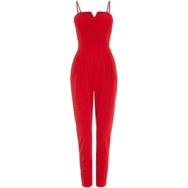 Wal-G Sleeveless Tapered Leg Jumpsuit (£36) ❤ liked on Polyvore featuring jumpsuits, red, women, red jump suit, red sleeveless jumpsuit, red jumpsuit, sweetheart neckline jumpsuit and sleeveless jumpsuit