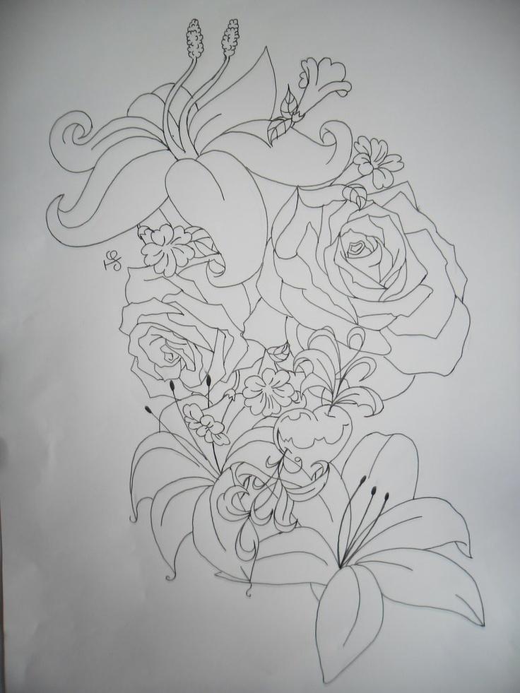 flower tattoo outline tattoos pinterest tattoo outline flower tattoos and tattoo. Black Bedroom Furniture Sets. Home Design Ideas