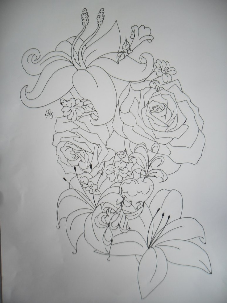 Tattoo Outlines Flowers Black And White: Flower Tattoo Outline