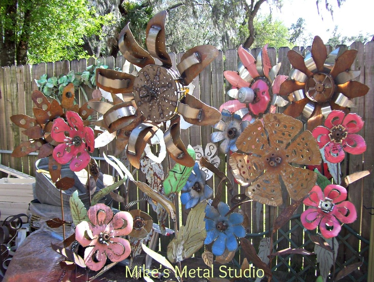 Best Metal Garden Flower Ideas On Pinterest Recycled Garden