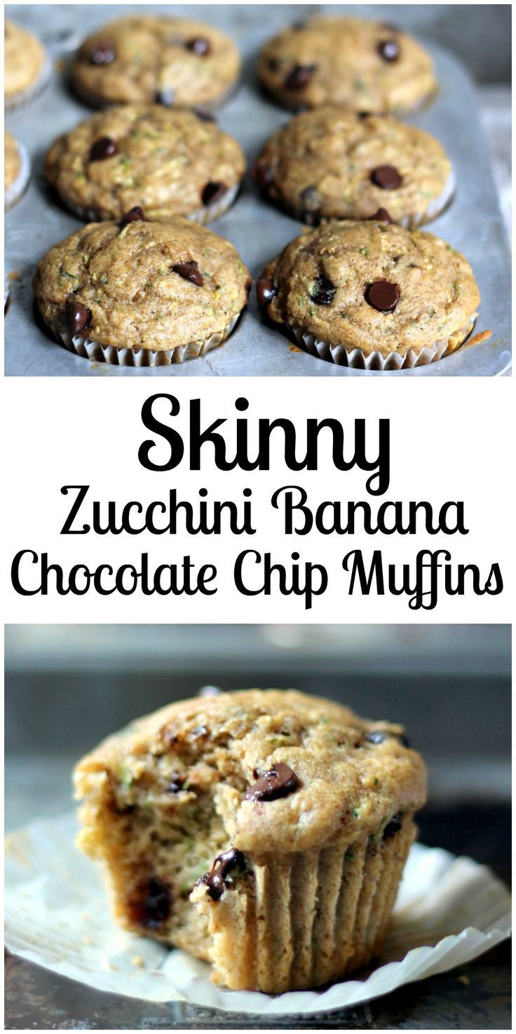 Skinny Zucchini Banana Chocolate Chip Muffins (healthy, low-fat)