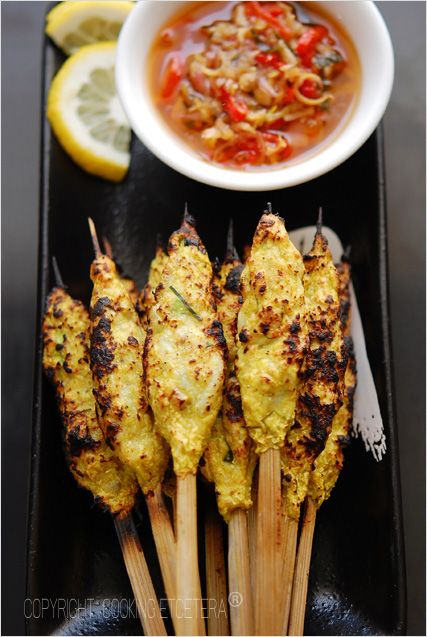 Satay Lilit Bali - shrimp and mackerel loaded onto bamboo skewers, grilled and then served with Balinese dipping sauce. #seafood #appetizer