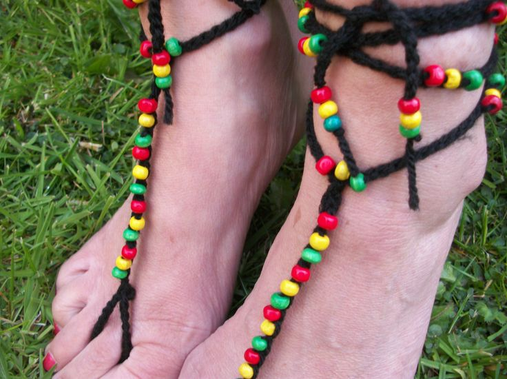 Rasta Barefoot Sandals, Slave Anklet - Hand Crocheted, £9.99