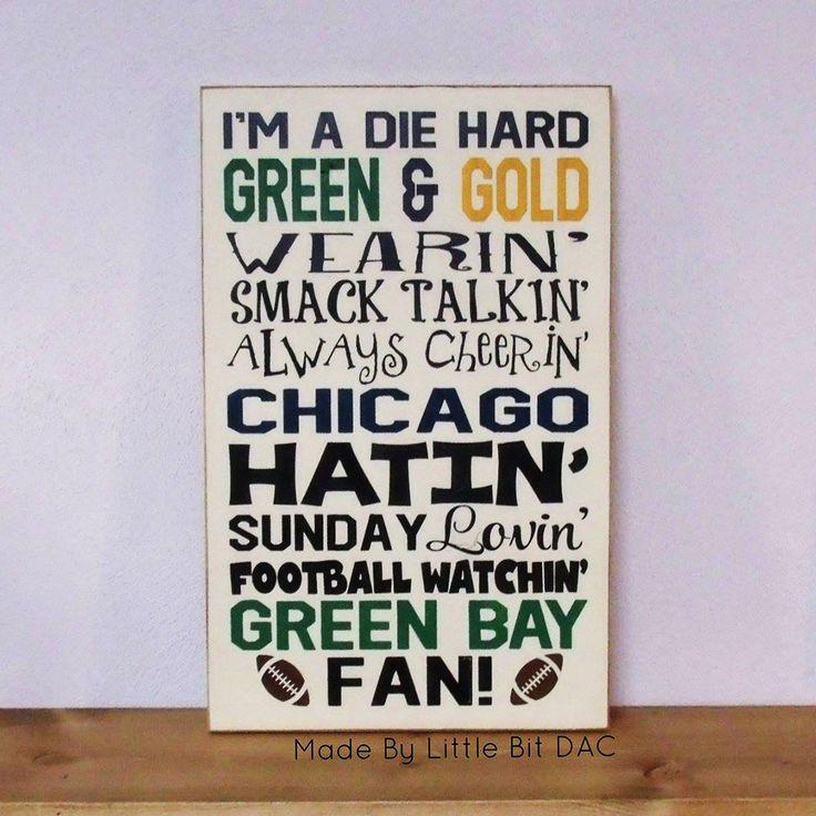 Green Bay Football Fans Sign, Chicago Football Hating, Football Season Wood Sign, SKU-888