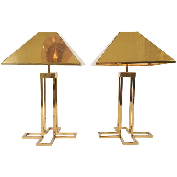 Rare Pair of 1970s US Geometric 'X' Brass Table Lamps by Curtis Jere