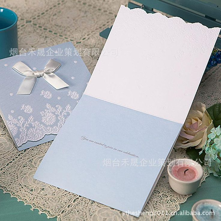 Hot Sale 2015 Charming Light Blue Wedding Invitations Cards With Lace And  Bow Decorations Cheap Wholesale