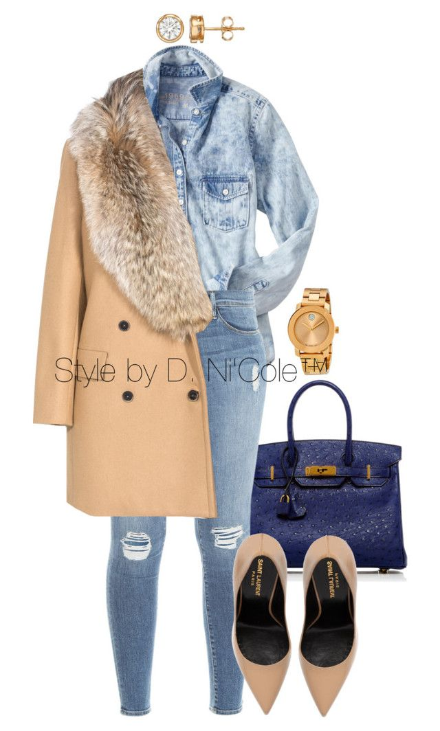 Untitled #3039 by stylebydnicole on Polyvore featuring polyvore, fashion, style, Gap, MSGM, Frame Denim, Yves Saint Laurent, Hermès and Movado