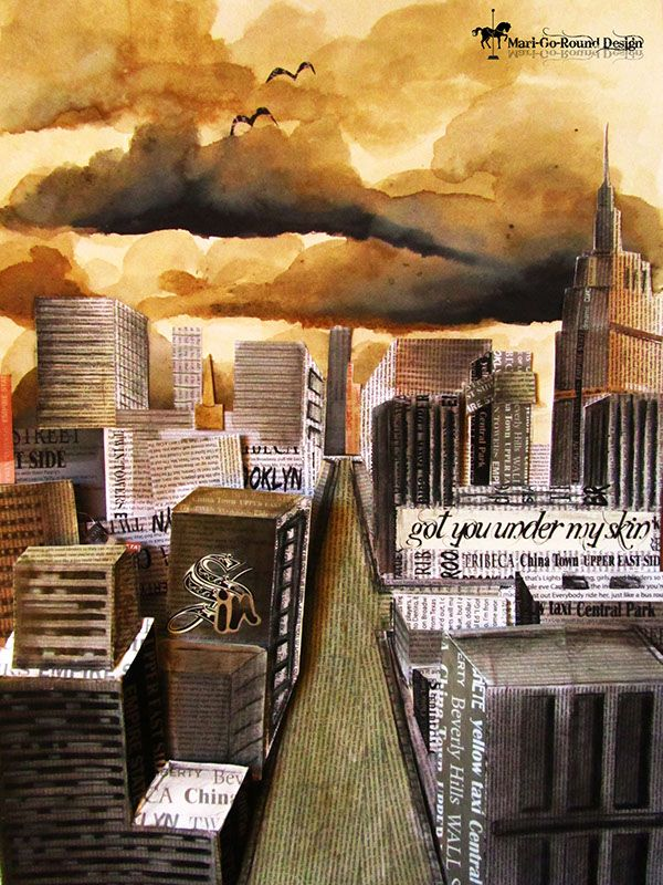 A2 Cityscape in Ink and Coffee By Mari Basson