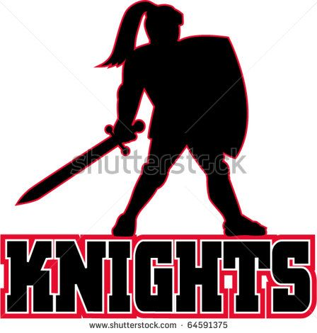 """vector illustration of a Knight silhouette with sword and shield facing side in white background with words """"Knights"""" suitable as mascot for any sports or sporting club or organization - stock vector #knight #silhouette #illustration"""