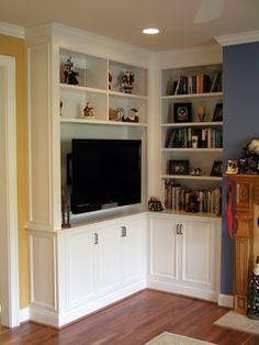 Wonderful Diy Built In Corner Tv Cabinet Bookshelves Part 6 - Built In Corner TV Shelf