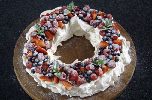 Christmas wreath pavlova- I had some technical flaws with my pavlova and then a transportation accident that ruined the dessert...but what ruins we did eat were delicious! Will be attempting again.