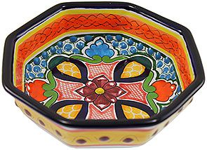 Serve your guests your best hors d'oeuvres from these charming Talavera octagonal bowls!  Plenty deep for dips or salsa, each bowl has been lovingly hand-crafted by the La Cupula ceramic studio of Puebla, Mexico.  As always, every piece of authentic Mexican Talavera offered by La Fuente Imports is 100% lead free, chip resistant, as well as microwave, oven, and dishwasher safe!