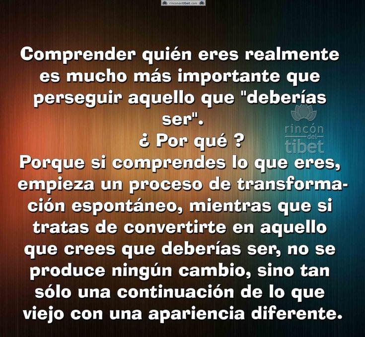 Comprender quien eres realmente es mucho más importante ....