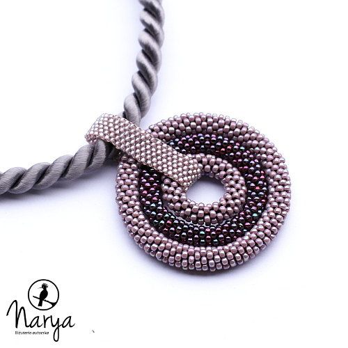 Bead crochet rope necklace big circle pendant by Naryajewelry, $60.00