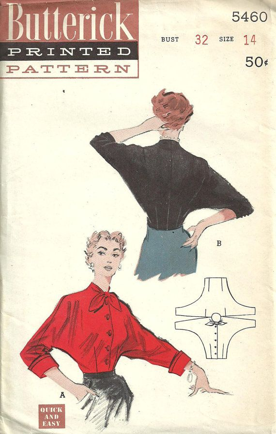 Butterick 5460 Vintage 50s sewing Pattern by studioGpatterns, $14.50