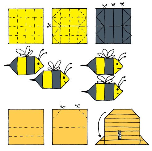 origami bee craft