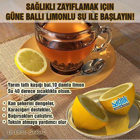 Sağlıklı zayıflamak isteyenler güne 1 bardak ılık ballı limonlu su ile…