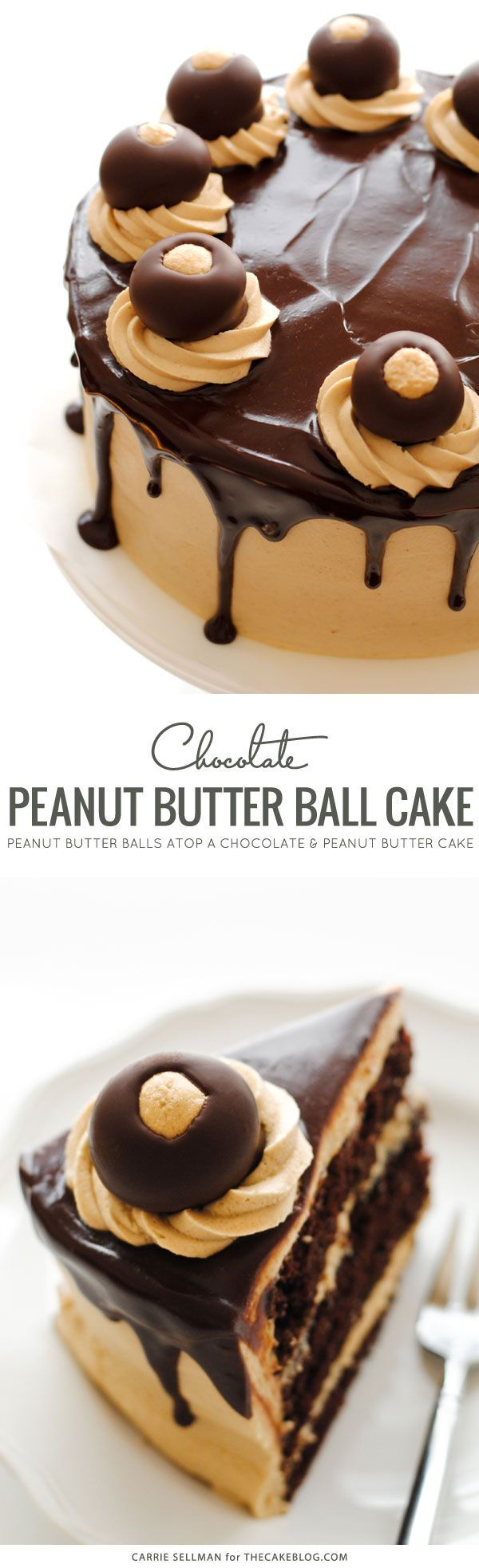 Buckeye Cake for holiday entertaining! Rich chocolate cake, creamy peanut butter frosting, chocolate ganache and chocolate peanut butter balls. | Carrie Sellman for TheCakeBlog.com