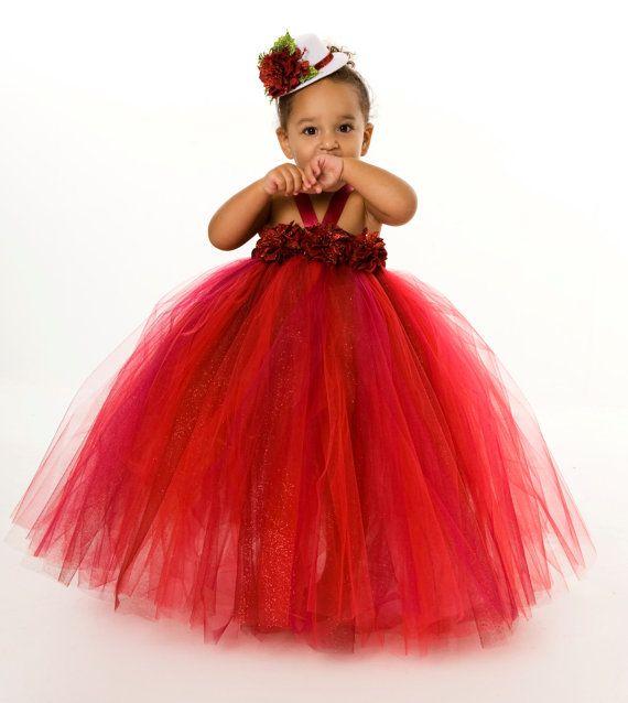 Holiday Tutu Dress - Radiant Red Poinsettia Dress - Christmas Tutu Dress