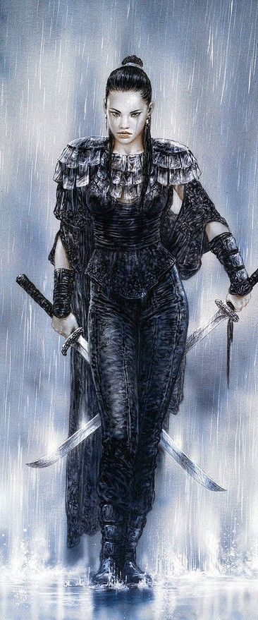 Luis Royo female samurai rain armor clothes clothing fashion player character npc | Create your own roleplaying game material w/ RPG Bard: www.rpgbard.com | Writing inspiration for Dungeons and Dragons DND D&D Pathfinder PFRPG Warhammer 40k Star Wars Shadowrun Call of Cthulhu Lord of the Rings LoTR + d20 fantasy science fiction scifi horror design | Not Trusty Sword art: click artwork for source