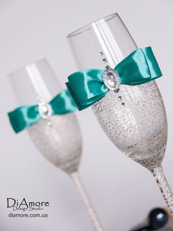 LACE - Tiffany & Ivory Wedding glasses/ champagne flutes/ Swarovski Crystal / hand decorated / painted by hand