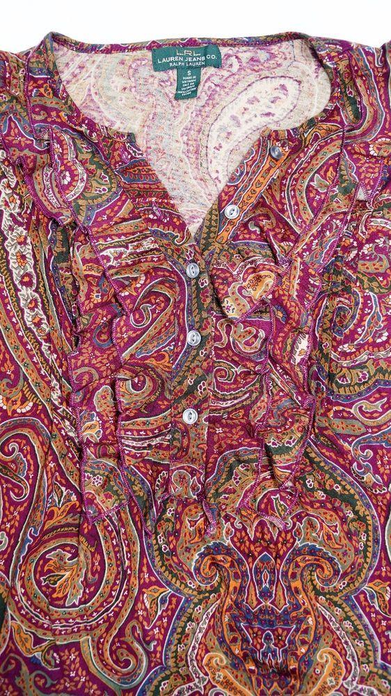 Lauren Jeans Co. LRL Ruffle Paisley long sleeve size S | eBay