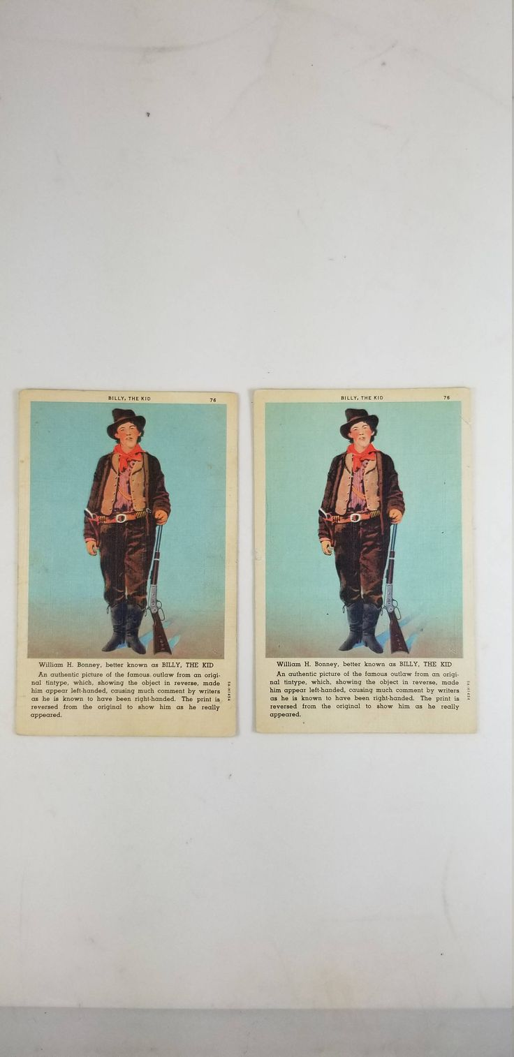 Vintage Linen Billy the Kid Postcard Outlaw William H. Bonney by wallstantiques on Etsy