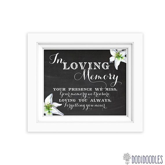 In Loving Memory Printable Sign For Wedding By Dodidoodles On Etsy 200