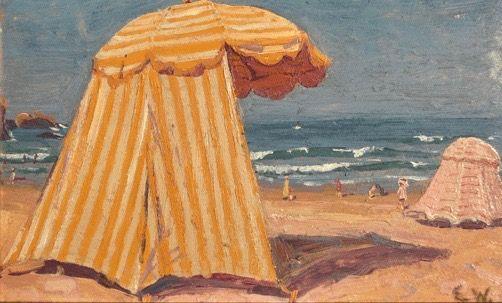 "Eiar Wegener   Cabana.  Original oil. c. 1910-1920. 6.2 x 9.8""."