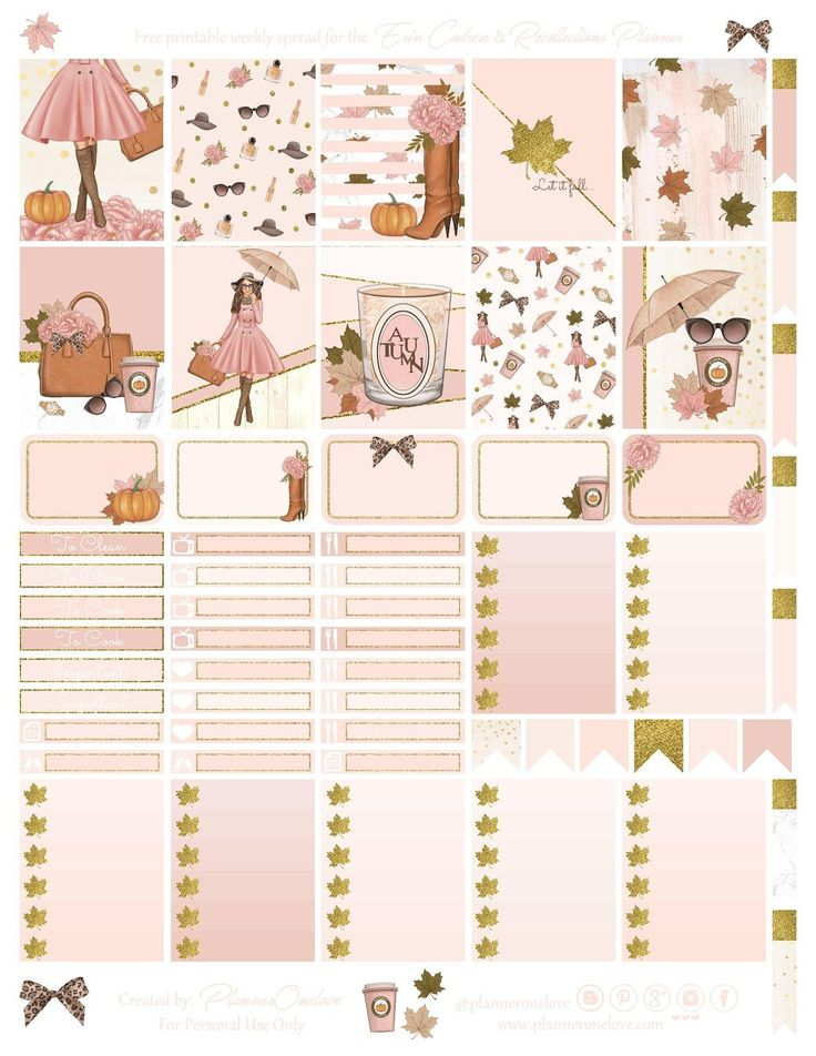 Free Printable Fall Fashion Planner Stickers from Planner Onelove