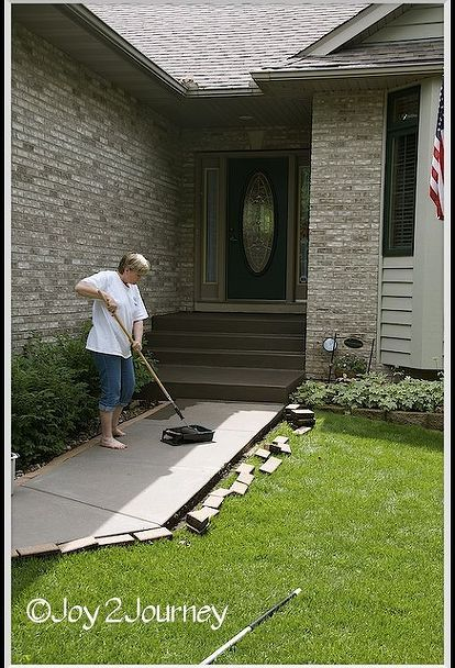 staining a concrete walkway, concrete masonry, outdoor living, and rolling it on