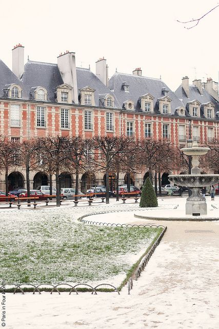 Snow at Place des Vosges, Paris
