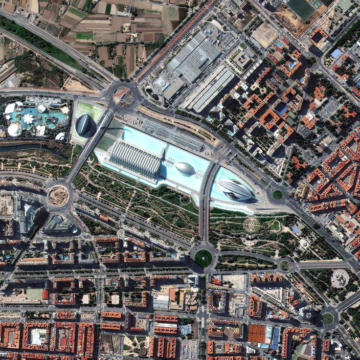 This is a satellite image of The Palau de les Artes Reina Sofia and Gulliver Park, Valencia, Spain, collected on July 19, 2013. (Photo DigitalGlobe via Getty Images)