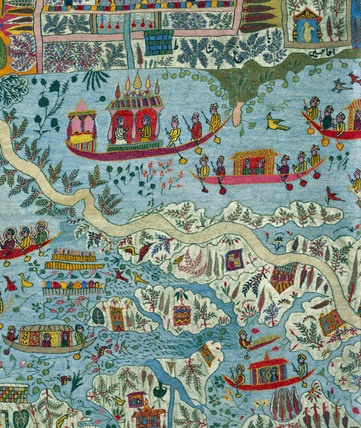 Textile, Embroidered Shawl. Decorated with a map of Srinagar; detail. Kashmir, India, late 19th century.