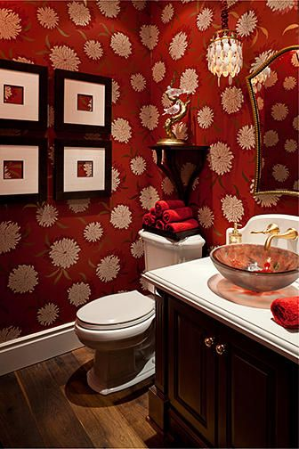 Playful Powder Room...I love the wallpaper!
