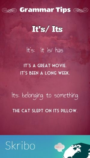 It's/ its grammar tips it's: it is/ has it's a great movie.it's been a long week. its: belonging to something the cat slept on its pillow.