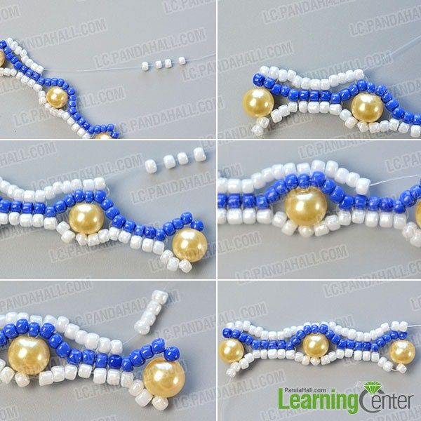 make the fifth part of the blue seed bead stitch wide bracelet