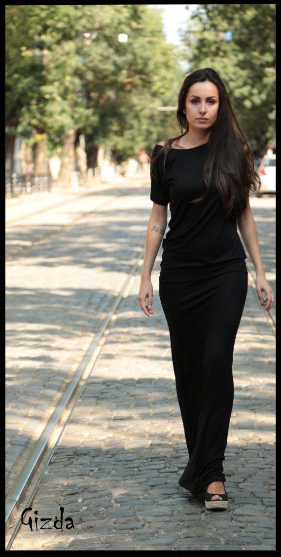 Romantic Asymmetric Black Maxi Dress // Classy No Sleeve Cotton Summer Dress // Handmade Elegant Party Dress on Etsy, $68.00
