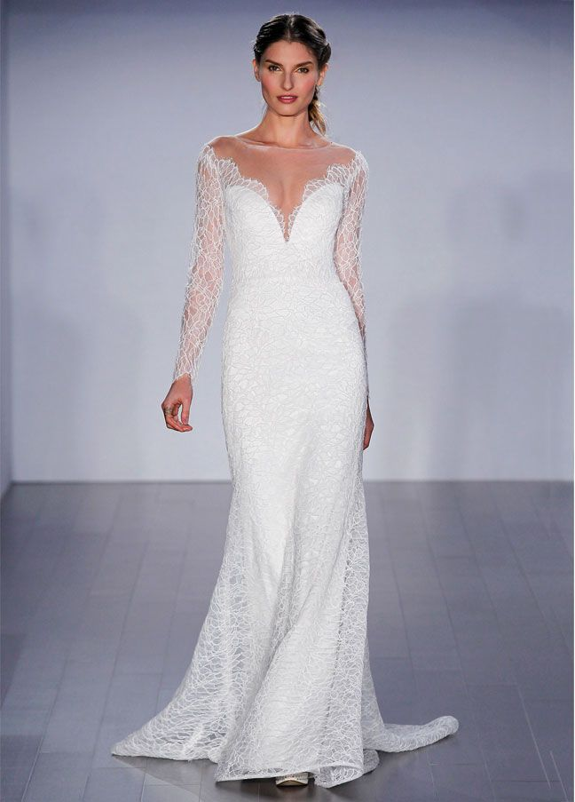 Ivory Alencon lace modified A-line bridal gown, long sleeve, off the shoulder neckline, illusion sheer back with button detail, sweep train. Bridal Gowns, Wedding Dresses by Jim Hjelm Bridal - JLM Couture - Bridal Style jh8507 by JLM Couture, Inc.