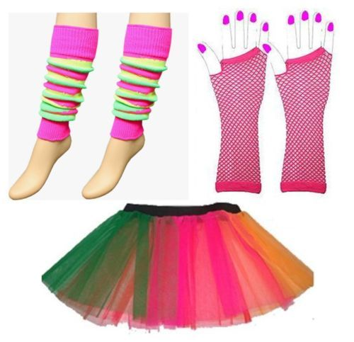 Neon Rainbow Striped Tutu,Gloves & Legwarmers 1980s 80s Fancy Dress All Sizes | eBay
