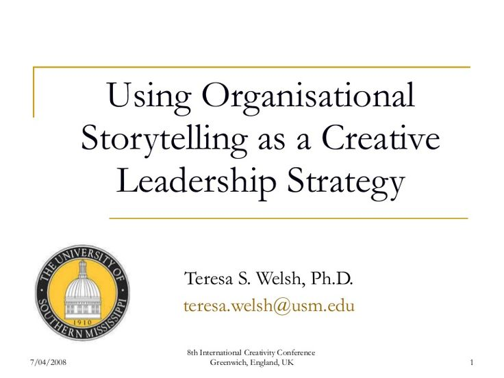 Using Organisational Storytelling as a Creative Leadership Strategy Teresa S. Welsh, Ph.D. [email_address] 7/04/2008