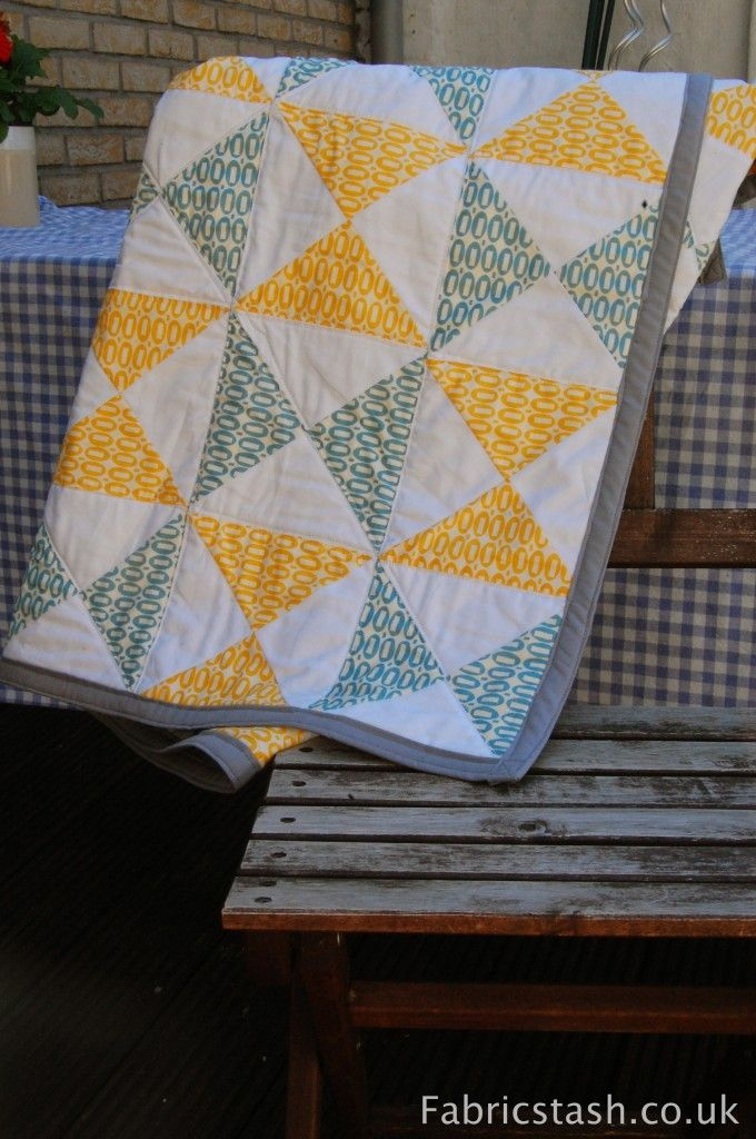 finished half square triangle quilt for Lilly