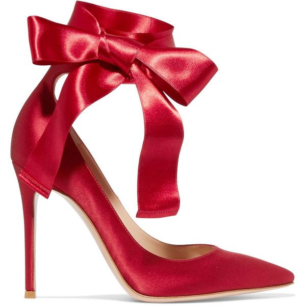 Gianvito Rossi Lace-up satin pumps ($780) ❤ liked on Polyvore featuring shoes, pumps, gianvito rossi, heels, burgundy, lace up shoes, satin shoes, laced shoes, satin pumps and burgundy shoes