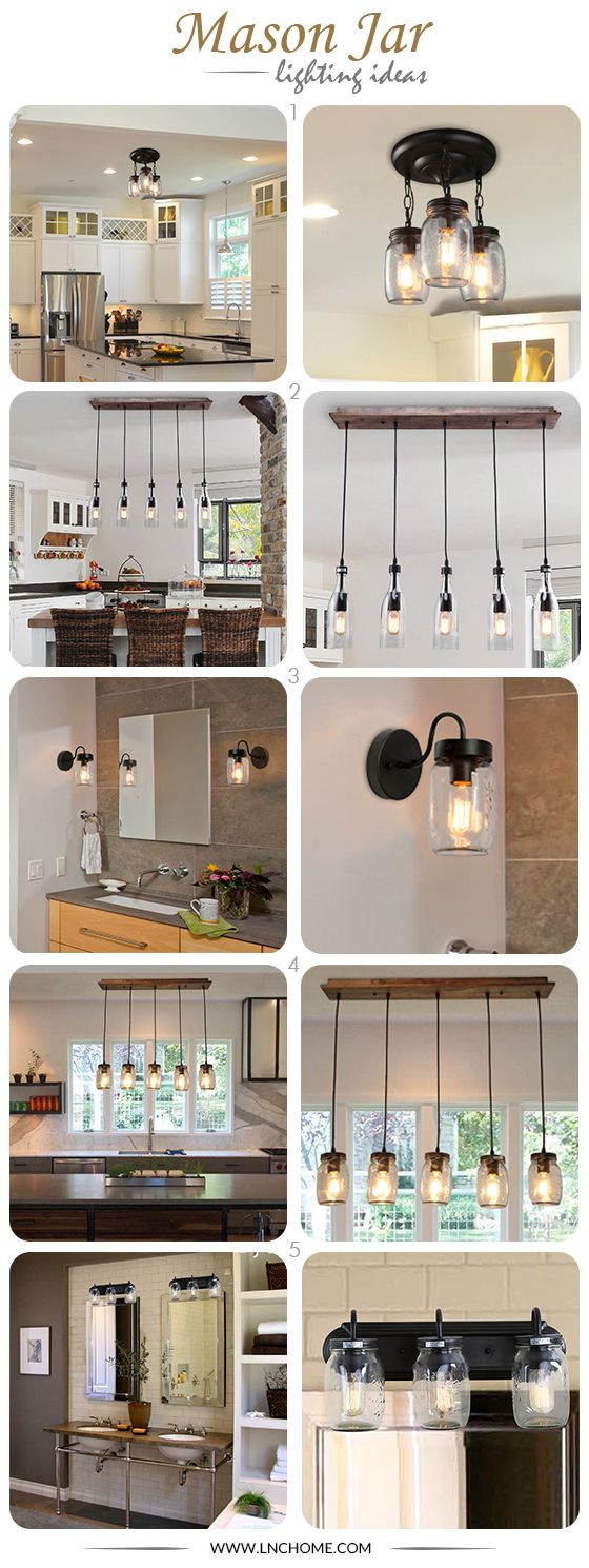 -Lights in Jar- Classy and contemporary, the mason jar lighitng collection brings a touch of elegance to any setting. Cast a warm, inviting glow to your entryway or perk up your kitchen or dining area with these antique glass lighting fixtures. Perfectly suitable for hanging in your living room, dining room, bar and more, it will always be the center of attention no matter it's on or off.