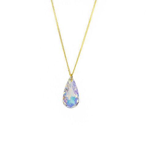 Teardrop Necklace Aurora Borealis