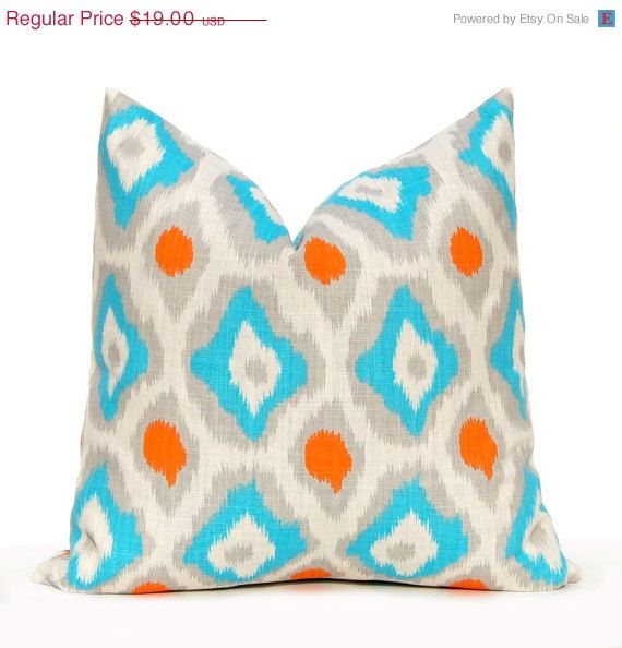 Turquoise Throw Pillows Covers : 17 Best images about Turquoise, Grey, Orange Craft Room on Pinterest Turquoise, Floor lamps ...
