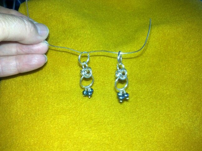 Silver earrings with sweetwater pearls