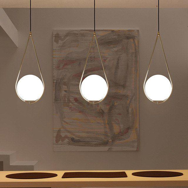 Nordic Glass Ball Pendant Light Modern Round Global Hanging Light Pendant Lamp Glass Ball Pendant Lighting Ball Pendant Lighting Decorative Pendant Lighting