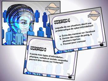 Ce document contient : - 28 questions concernant la cyber-intimidation ; - Une fiche de suivi ; - Un corrigé.  Vous pouvez utiliser ces cartes de différentes manières : - Cartes à tâches (travail autonome) ; - Questions « éclair » ; - Démarrer une discussion éthique relative aux différents enjeux de la cyber-intimidation (définition, causes, conséquences, solutions, acteurs, etc.)  Lien avec la progression des apprentissages : Des exigences de la vie en société.